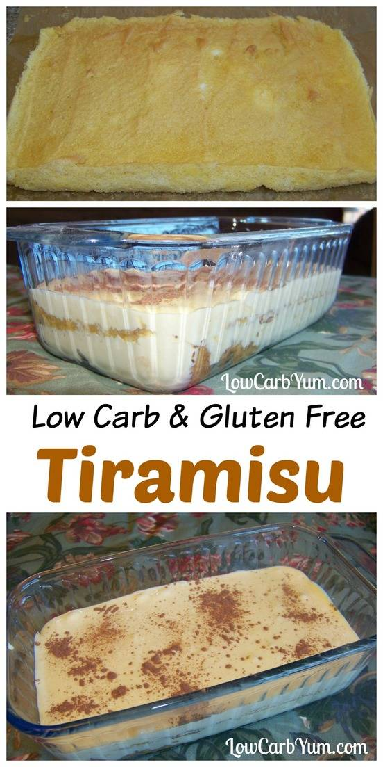 A delicious low carb tiramisu that's also gluten free. The cake layer is made using almond flour and the dessert is sweetened with stevia and erythritol. #lowcarb #tiramisu #keto #ketorecipe #ketodessert | LowCarbYum.colm