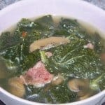 Kale Soup with Sausage and Mushrooms