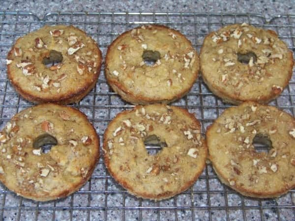 "Low Carb Banana Nut Muffin ""Donuts"" Cooling on Rack"