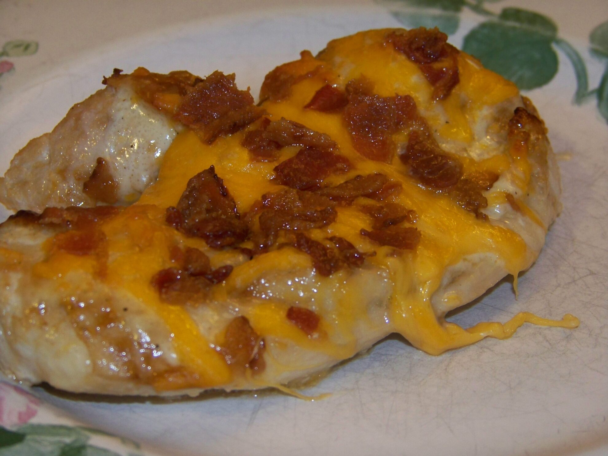 Baked Chicken Topped with Cheddar Bacon and Sauces