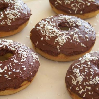 Coconut Donuts with Chocolate Icing