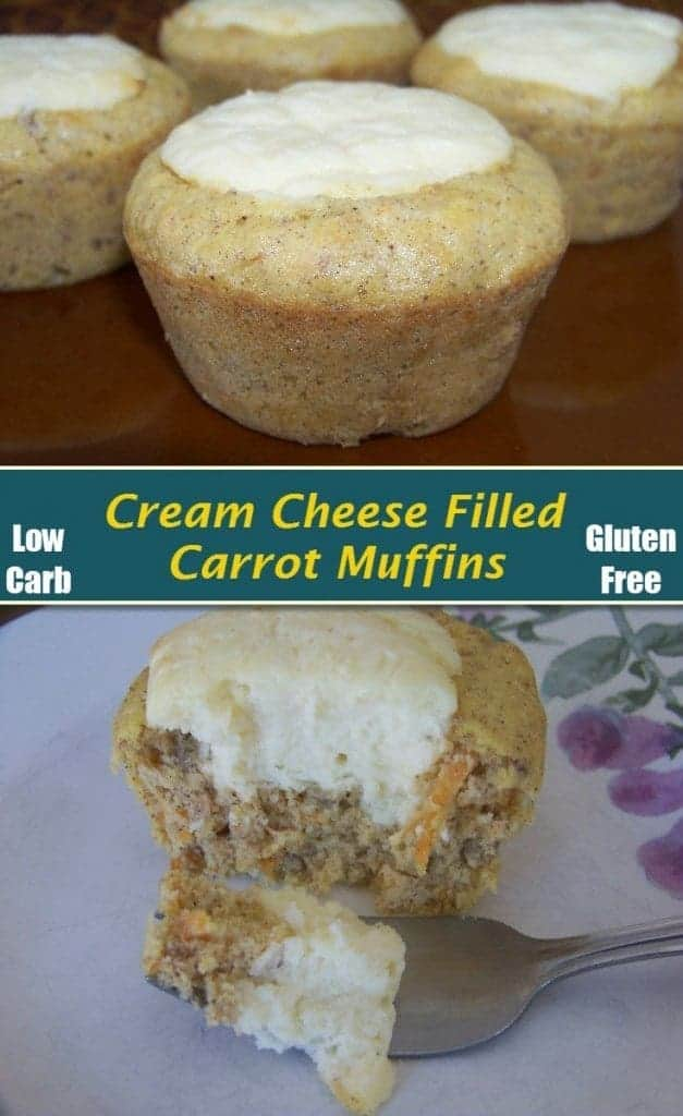 These low carb carrot muffins are loaded with a yummy sweetened cream cheese filling. The gluten free muffins are like cheesecake surrounded by carrot cake.