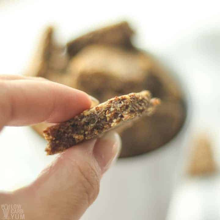 Thickness of the keto flax seed crackers. #lowcarb #keto #glutenfree #weightwatchers #ketorecipes #Atkins #ketosnack | LowCarbYum.com