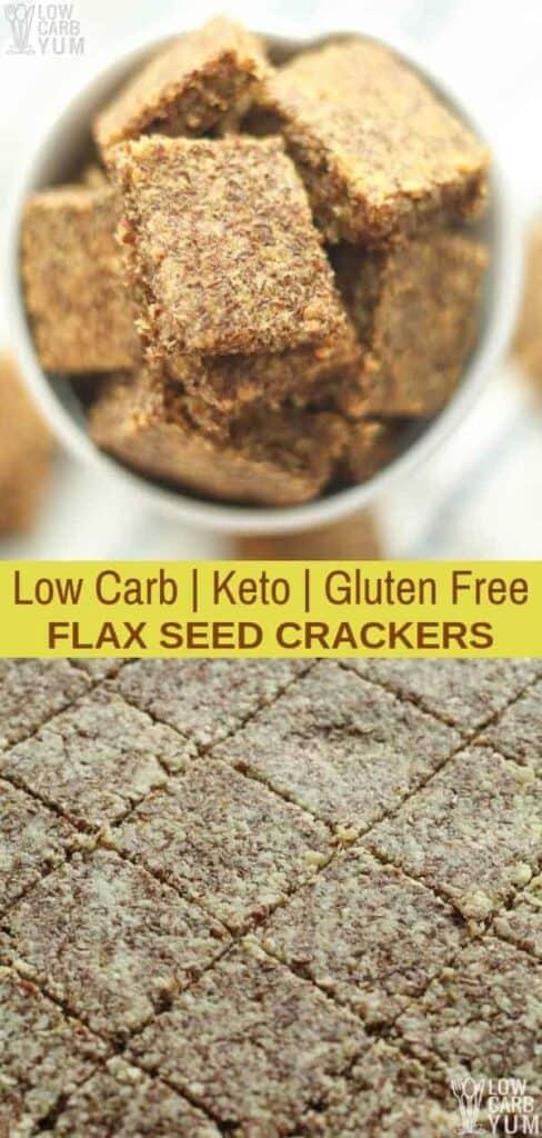 Low carb keto flax seed crackers recipe. #lowcarb #keto #glutenfree #weightwatchers #ketorecipes #Atkins #ketosnack | LowCarbYum.com