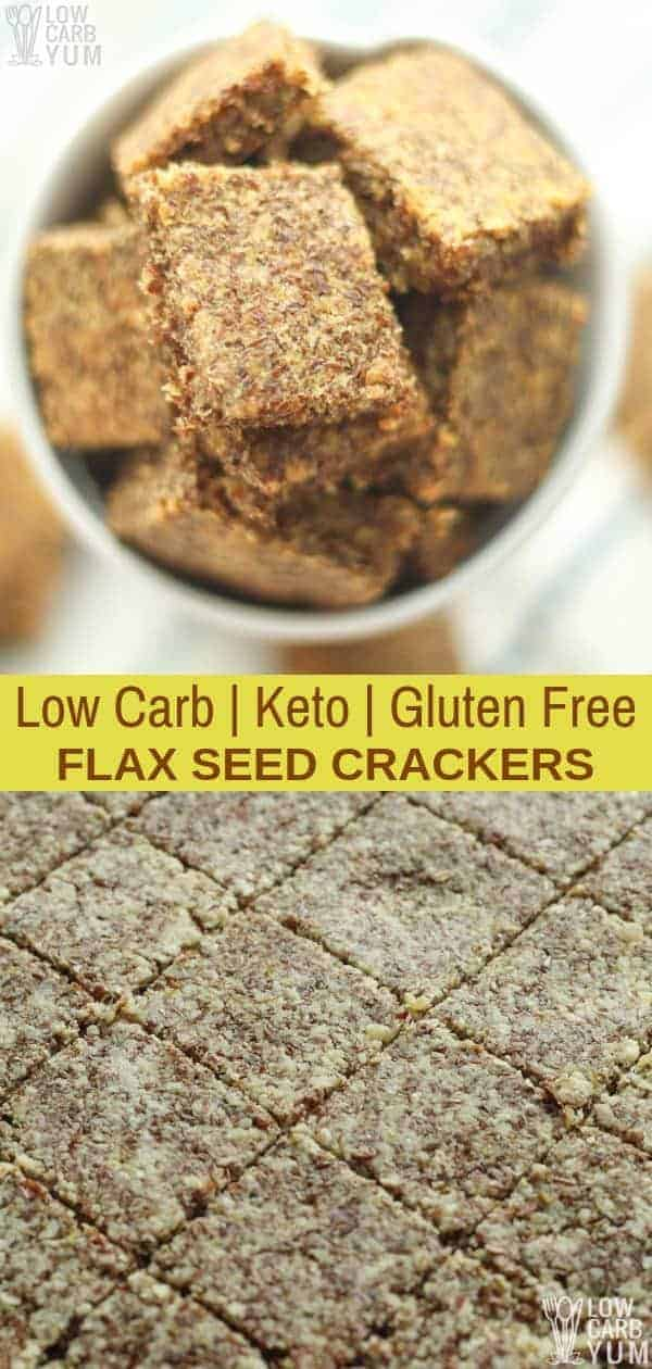 An easy to makeketo flax seed crackers recipe with garlic parmesan flavor.These simple low carb crackers are a great homemade snack. | #lowcarb #keto #glutenfree #weightwatchers #ketorecipes #Atkins #ketosnack | LowCarbYum.com