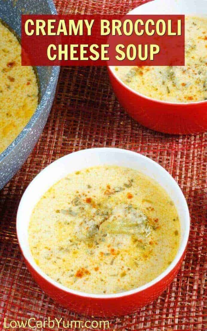 Canned soups are full of fillers. This creamy low carb broccoli cheese soup combines broccoli and cauliflower with cheddar cheese. And, it's gluten-free! | LowCarbYum.com