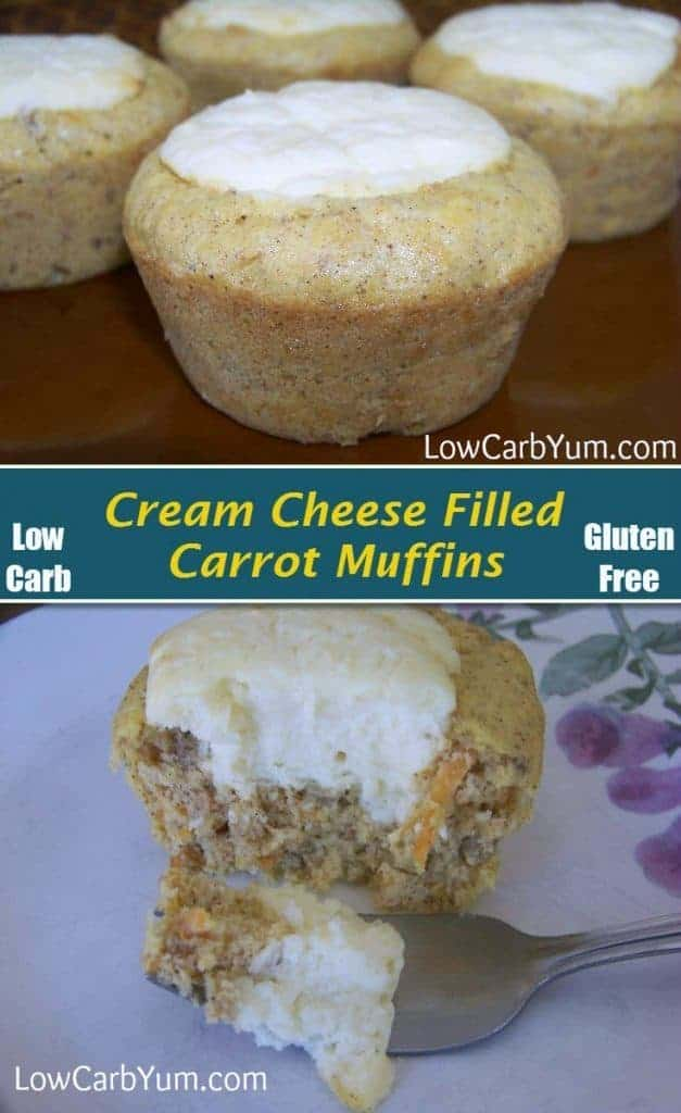 These low carb carrot cake cream cheese muffins are super delicious. They are like having cheesecake surrounded by a yummy gluten free carrot muffin. | LowCarbYum.com