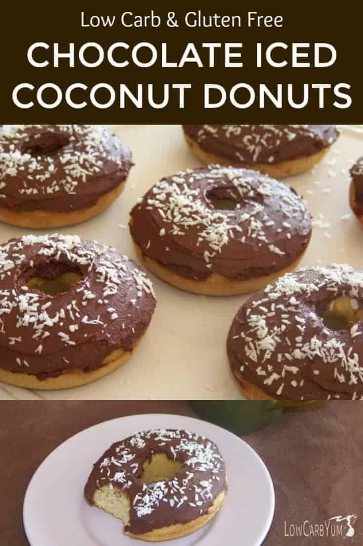 Low carb donuts are a special treat that will make you feel like you are cheating. These chocolate iced coconut donuts are the best I have made so far. They are also gluten free. | LowCarbYum.com