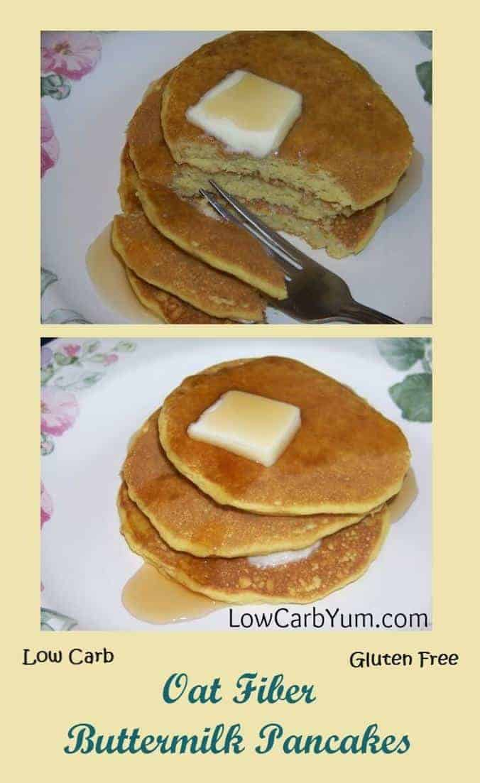 It's hard to tell that these oat fiber low carb buttermilk pancakes aren't the traditional high carb ones. They are also great frozen in single servings! | LowCarbYum.