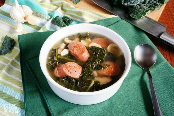 Easy sausage kale soup with mushrooms