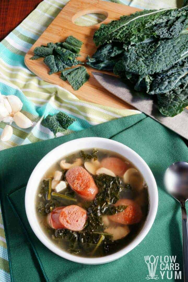 Low carb keto sausage kale soup recipe with mushrooms