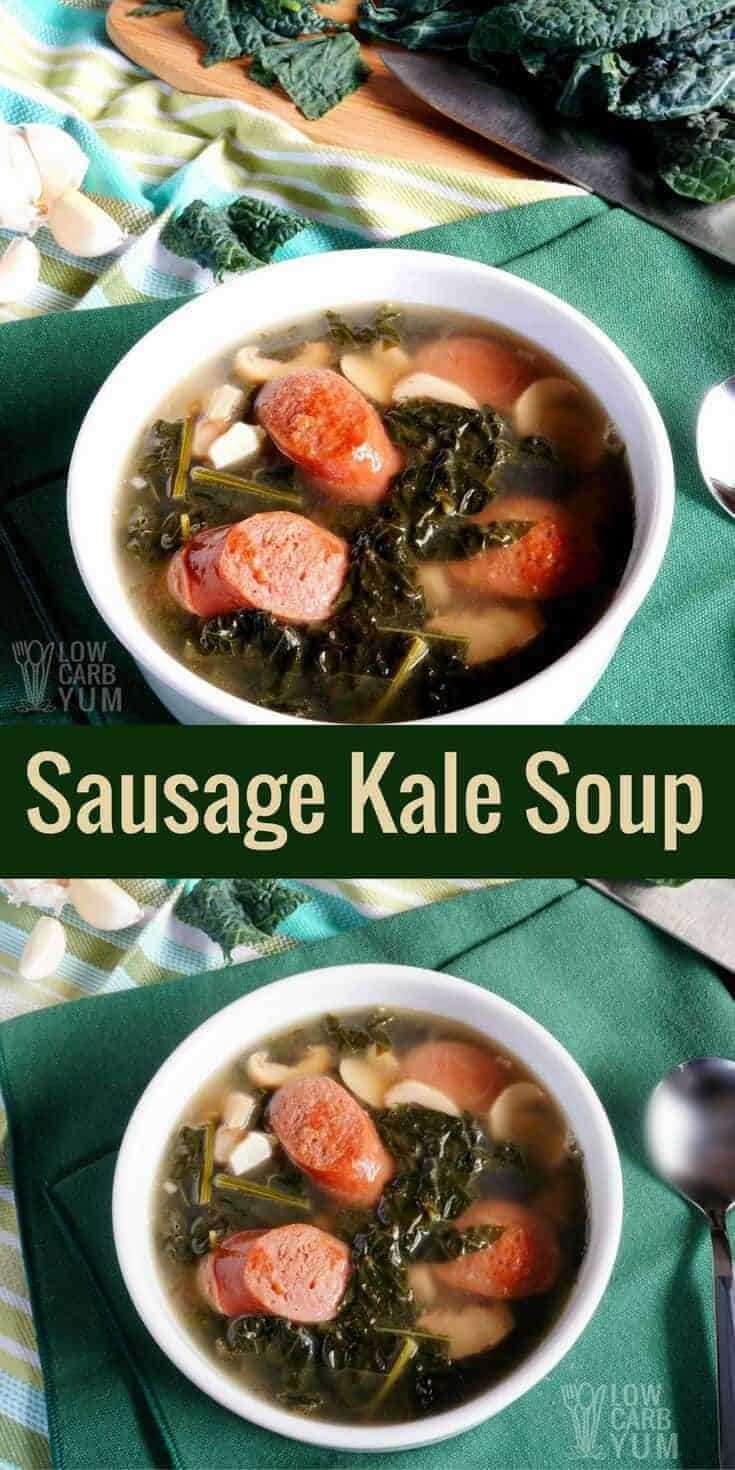 This low carb keto sausage kale soup with mushroom recipe is cooked in a chicken bone broth base. It makes a quick heartwarming meal. #lowcarb #keto #ketorecipe | LowCarbYum.com