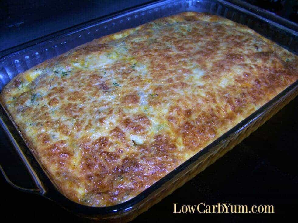 Broccoli bacon egg casserole with cheese