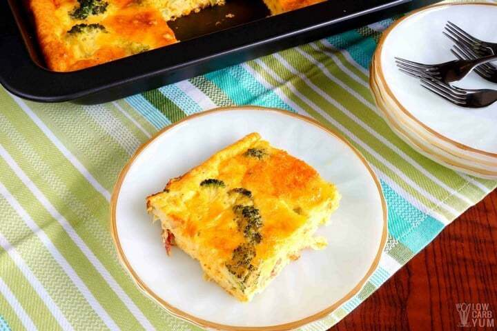 broccoli egg casserole slice on plate