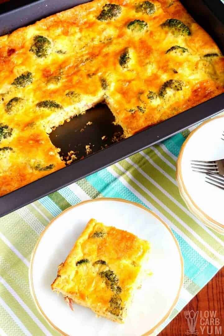 Low carb broccoli egg casserole with bacon and cheese