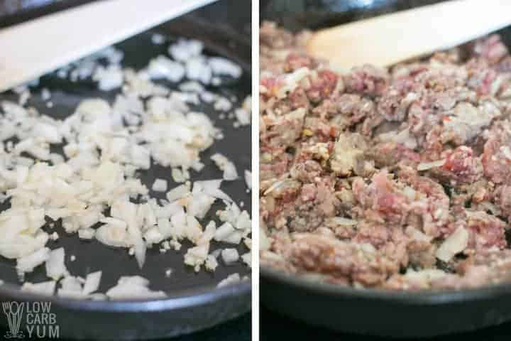 cooking onion and sausage