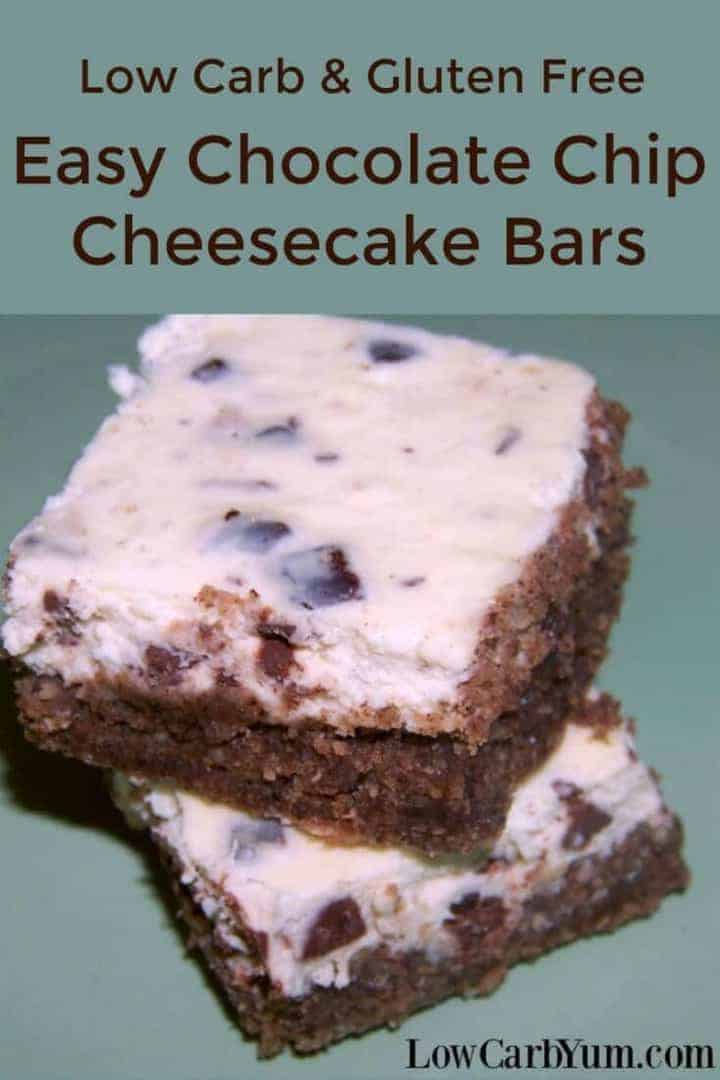 Give this easy chocolate chip cheesecake bars recipe a try. There's chocolate chips baked in a basic cheesecake on a gluten free pecan based crust. | LowCarbYum.com