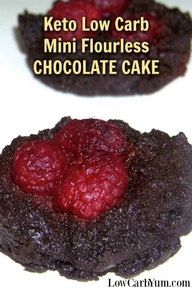Keto mini flourless chocolate cake is a rich low carb and gluten free treat. Sweet raspberries compliment the rich chocolate and add color. | LowCarbYum.com