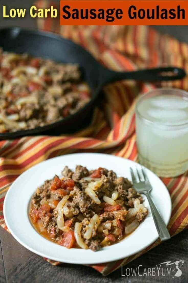 Sausage goulash low carb pasta recipe