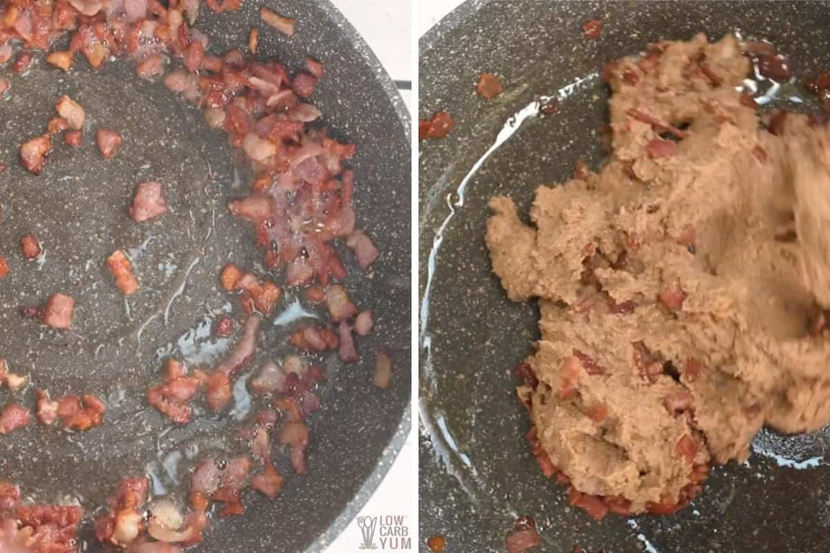 bacon and soybeans in skillet