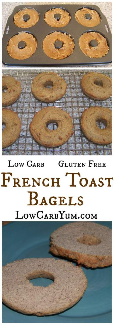 A tasty low carb French toast bagel that's sure to please. It's perfect with butter spread on top! This low carb bagel is great for breakfast on the go. | LowCarbYum.com