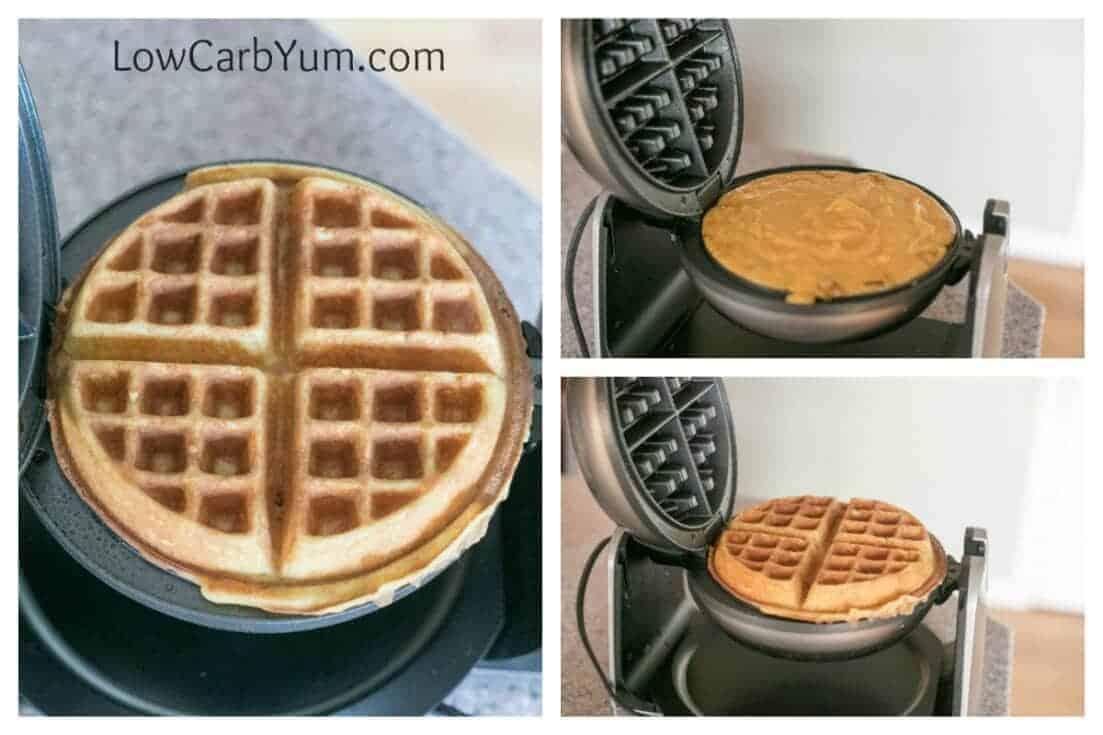 coconut flour batter in waffle maker