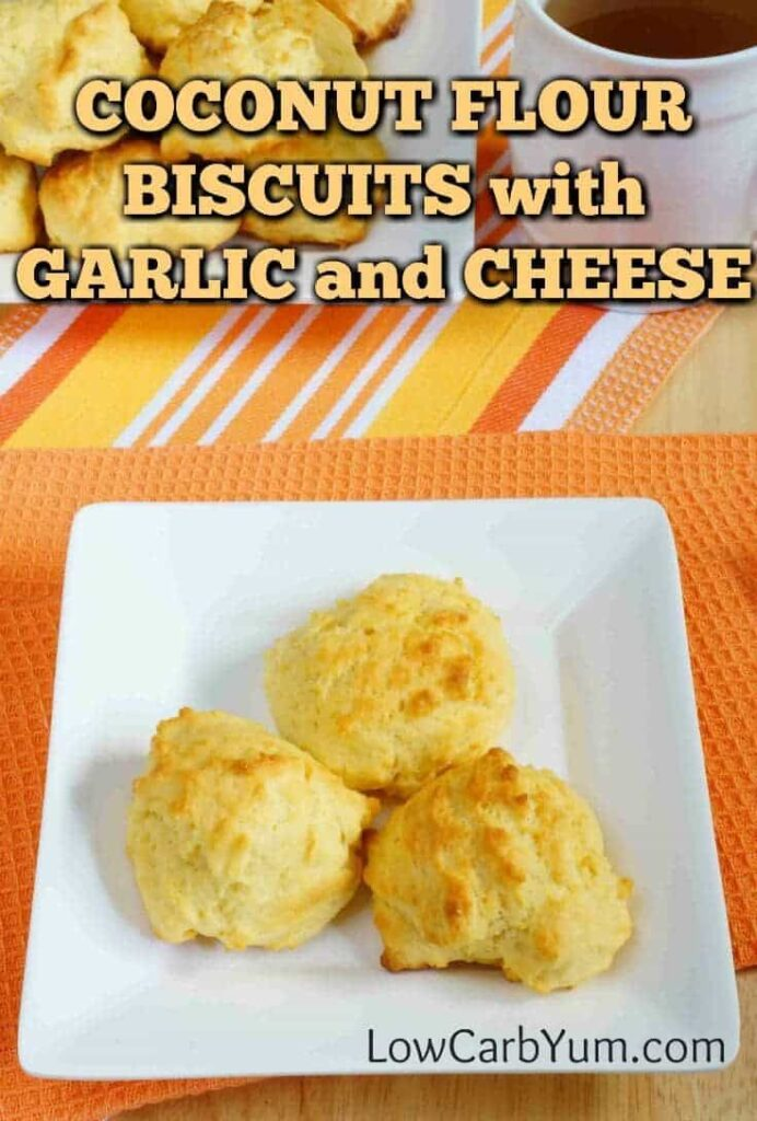 plate of coconut flour biscuits with cheddar and garlic