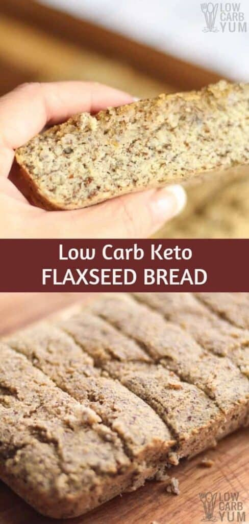 Quick and easy low carb keto flaxseed bread recipe. #lowcarb #keto #ketobread #ketorecipes #weightwatchers #glutenfree