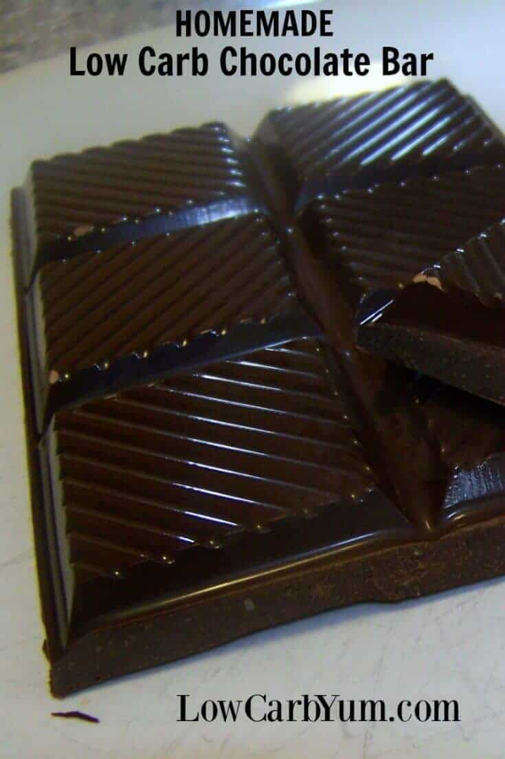 These low carb homemade chocolate bars are inexpensive to make. And, the ingredients won't cause digestive pain like some sugar-free candies. | LowCarbYum.com