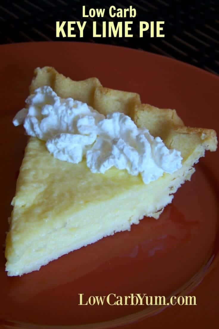 A low carb coconut key lime pie from scratch with a flaky gluten free coconut flour pie crust. This is a great sugar free pie that isn't overly sweet. Perfect for the holidays. | LowCarbYum.com