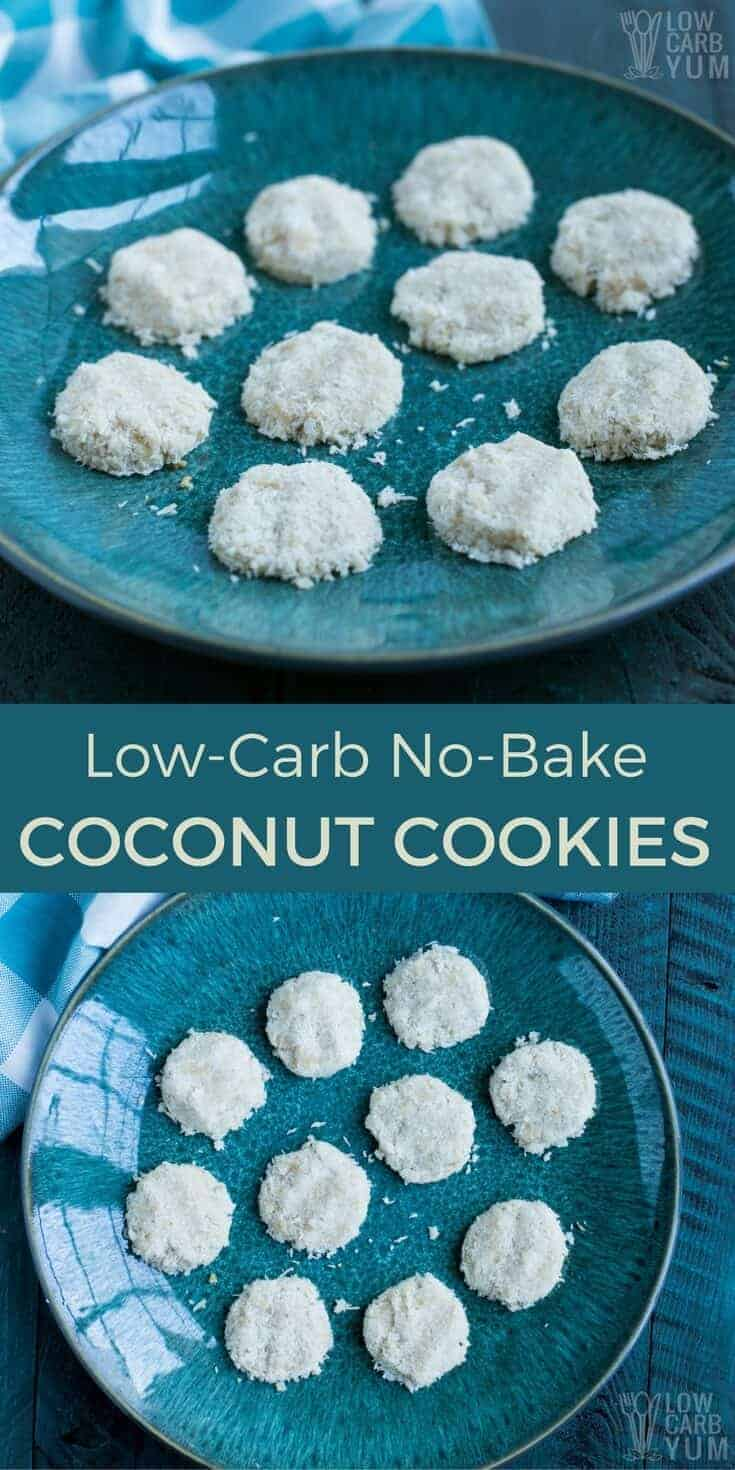 No time to bake? These low carb and gluten free maple no bake coconut cookies can be cooked in the oven or left unbaked. Made with healthy almond flour and coconut oil. | lowcarbyum.com