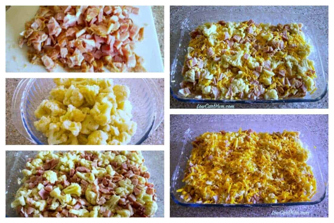 Low carb cheesy cauliflower casserole with ham recipe