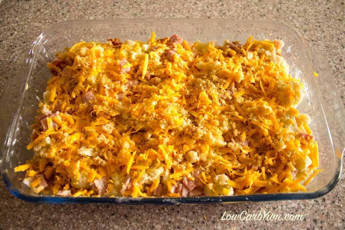 prepared cheesy cauliflower ham casserole