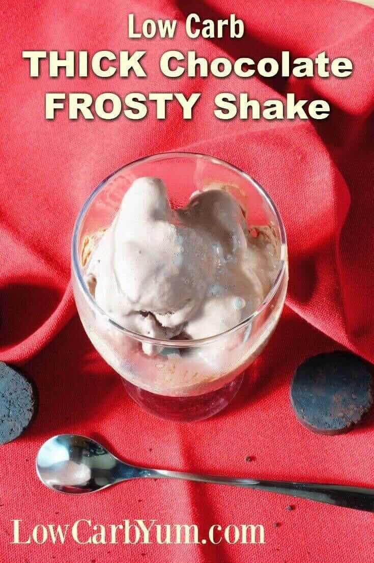 It's really quick and easy to make thick frozen low carb shakes at home. This chocolate milkshake is a copycat of the famous fast food Frosty. | LowCarbYum.com