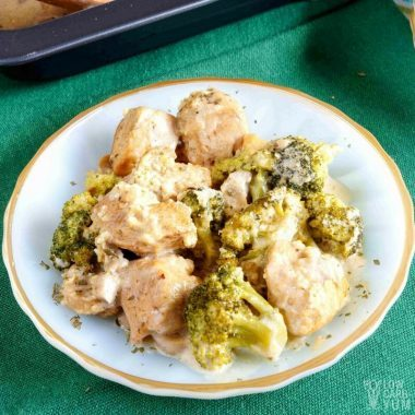 Low carb broccoli casserole with cream cheese and chicken