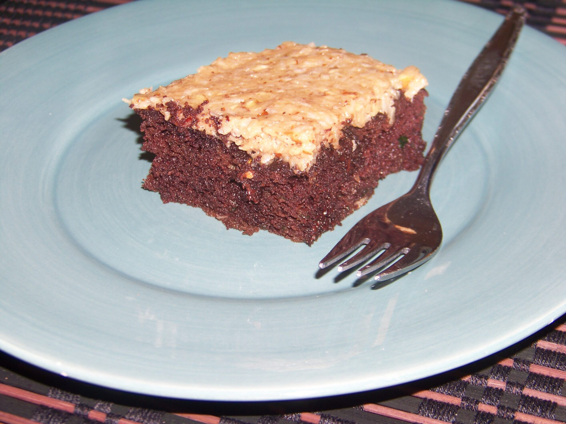 Chocolate Zucchini Cake with Coconut Pecan Frosting