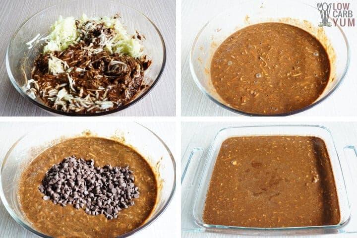 Adding zucchini and chocolate chips to cake batter