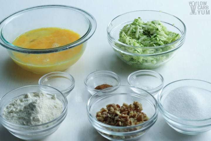Ingredients to make paleo friendly coconut flour zucchini muffins