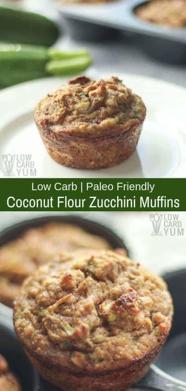 Keto low carb coconut flour paleo zucchini muffins. #paleo #lowcarb #glutenfree #keto #ketorecipes #zucchini #muffins   LowCarbYum.com