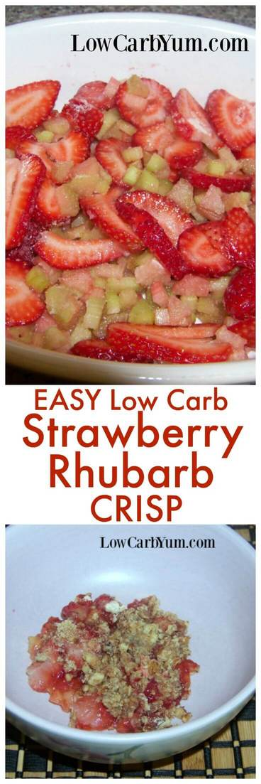 An easy strawberry rhubarb crisp recipe that can be made within minutes. Ingredients can be mixed right in the bowl to save time on cleanup too! | LowCarbYum.com