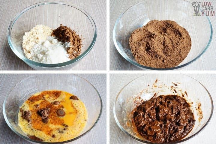 Blending the cake batter ingredients