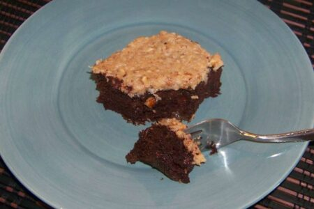 Low carb German chocolate zucchini cake