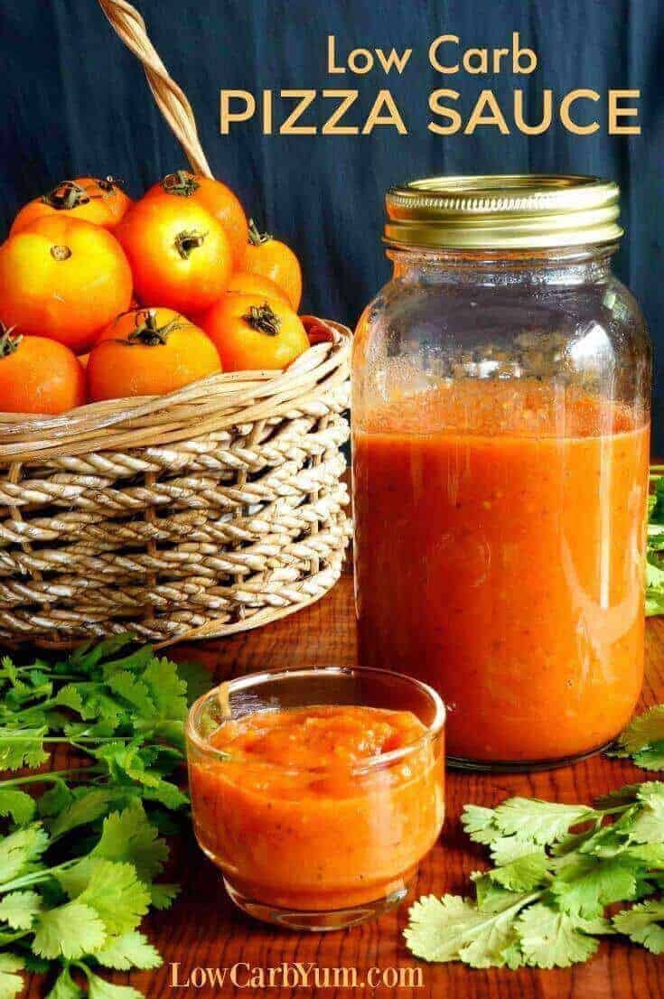 A simple homemade sugar free pizza sauce. This low carb pizza sauce is a great way to use up a late summer crop of tomatoes or frozen skinned tomatoes. | LowCarbYum.com