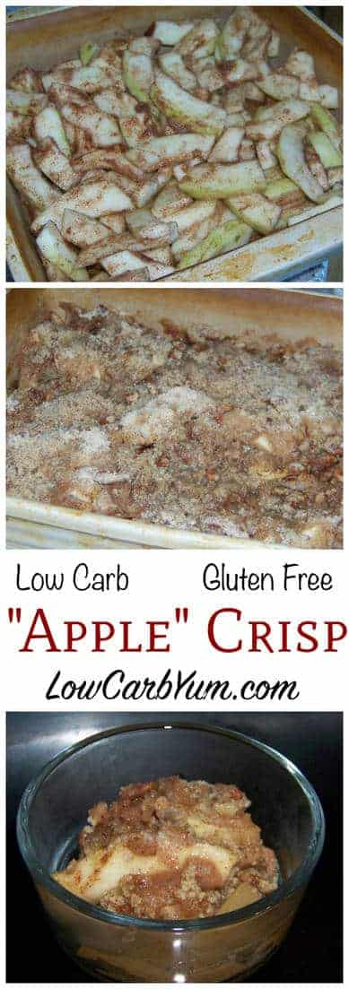 Apples are forbidden fruit on low carb, but this low sugar mock apple zucchini crisp recipe is a clever way to trick your taste buds when you crave apples.