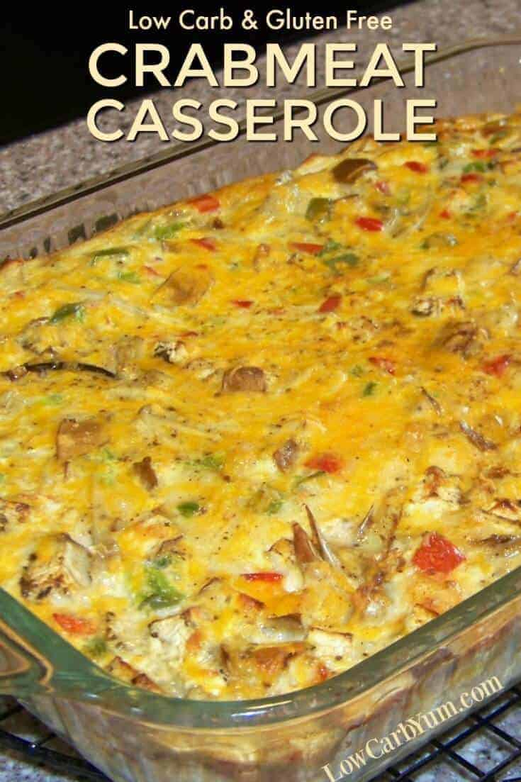 This low carb crab and vegetable crabmeat casserole is similar to a crustless quiche. It can be made with either fresh, canned, or frozen crab meat. | LowCarbYum.com