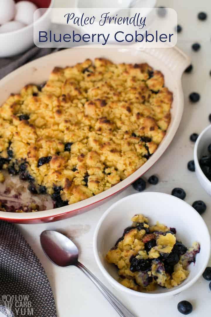 Paleo blueberry berry cobbler with coconut flour