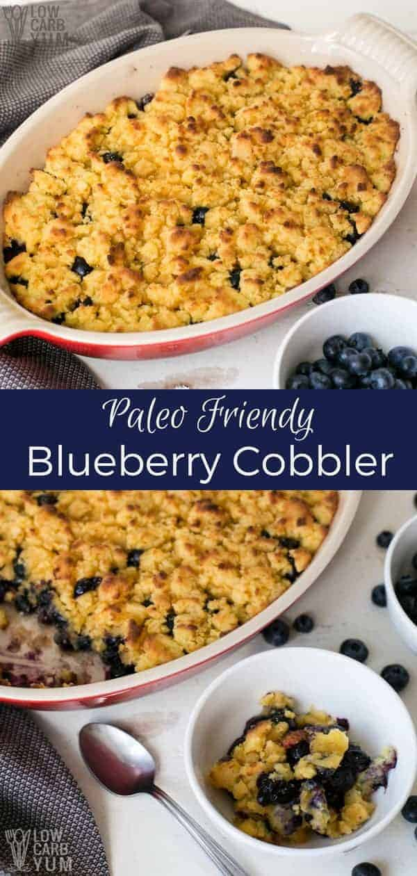 An easy paleo berry cobbler recipe made with fresh or frozen berries. The topping in this low carb blueberry dessert is made with gluten free coconut flour.  | lowcarbyum.com