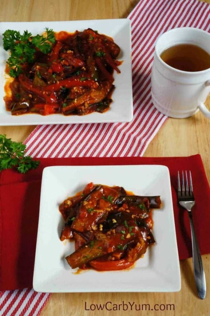 This eggplant tomato sauce pepper recipe is a quick and easy vegetable dish. It's a simple dish that goes well with grilled steaks or chicken.