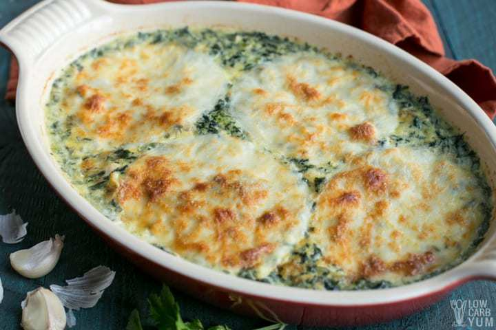 Easy cheesy low carb tuna casserole with spinach.