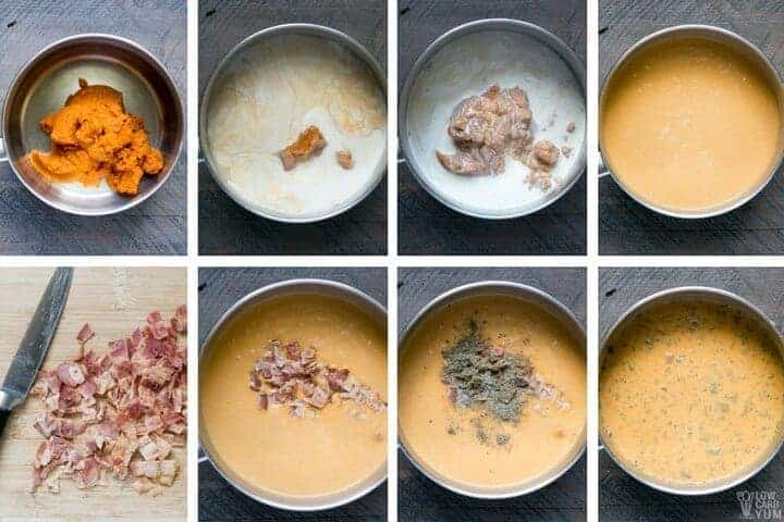 How to make an easy low carb pumpkin soup with bacon